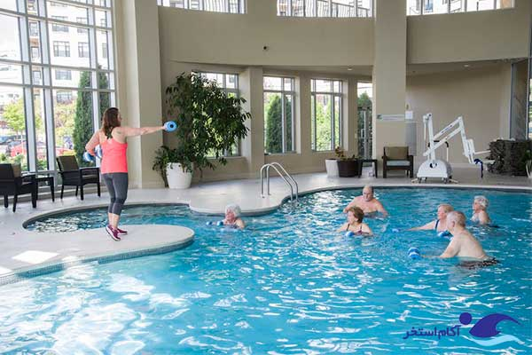 عکس ورزش کم فشار شنا در استخر